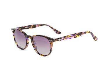 Gafas de sol Hugo Conti 6123 jaspeada morada con tonos marrones oscuros y claros y lente morada polarizada.