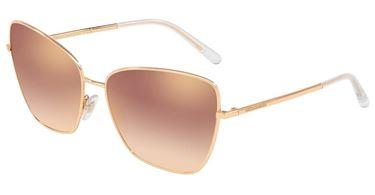 Gafas de sol Dolce & Gabbana en metal rosa dorado con lente espejo rosa